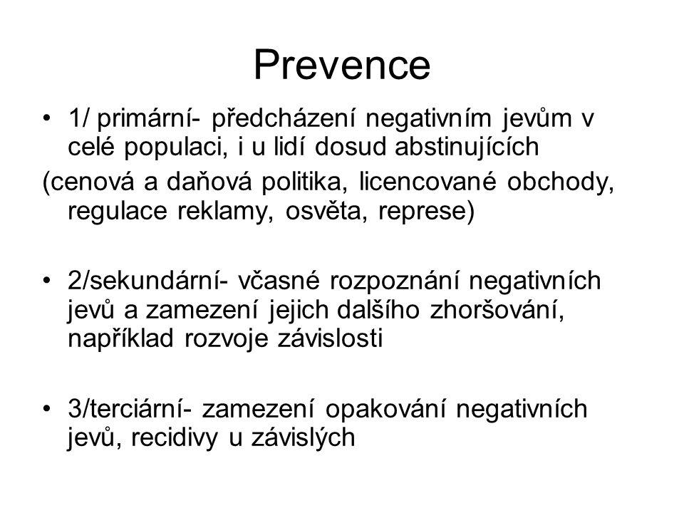 Prevence 1/ primární- předcházení negativním jevům v celé populaci, i u lidí dosud abstinujících (cenová a daňová politika, licencované obchody, regulace reklamy, osvěta, represe) 2/sekundární- včasné rozpoznání negativních jevů a zamezení jejich dalšího zhoršování, například rozvoje závislosti 3/terciární- zamezení opakování negativních jevů, recidivy u závislých