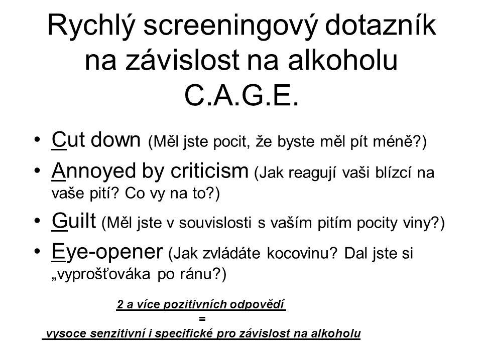 Rychlý screeningový dotazník na závislost na alkoholu C.A.G.E. Cut down (Měl jste pocit, že byste měl pít méně?) Annoyed by criticism (Jak reagují vaš