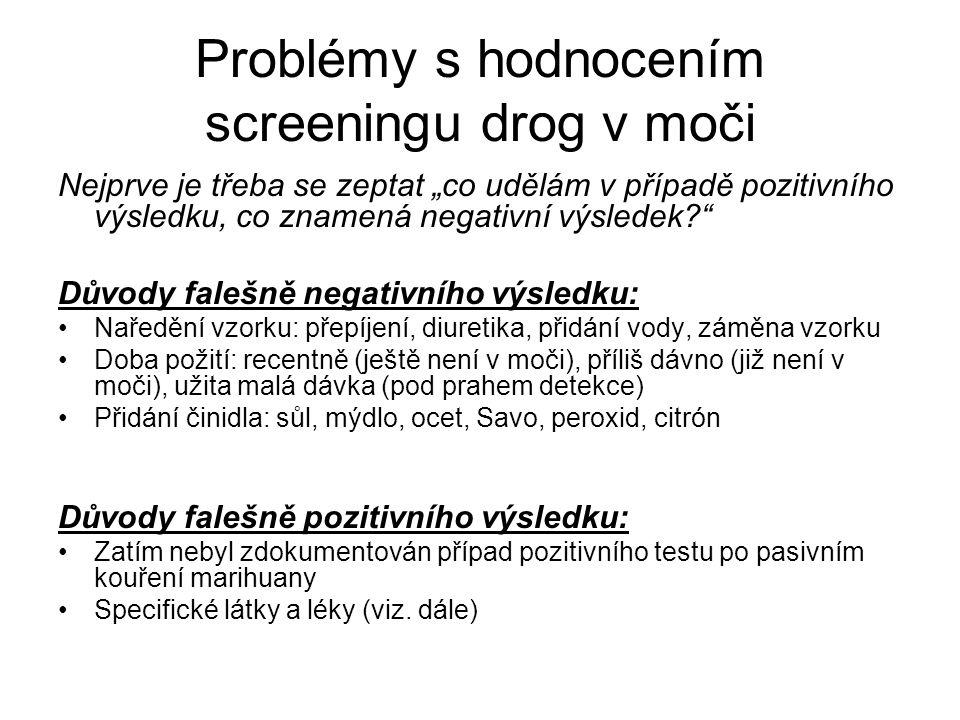"""Problémy s hodnocením screeningu drog v moči Nejprve je třeba se zeptat """"co udělám v případě pozitivního výsledku, co znamená negativní výsledek? Důvody falešně negativního výsledku: Naředění vzorku: přepíjení, diuretika, přidání vody, záměna vzorku Doba požití: recentně (ještě není v moči), příliš dávno (již není v moči), užita malá dávka (pod prahem detekce) Přidání činidla: sůl, mýdlo, ocet, Savo, peroxid, citrón Důvody falešně pozitivního výsledku: Zatím nebyl zdokumentován případ pozitivního testu po pasivním kouření marihuany Specifické látky a léky (viz."""