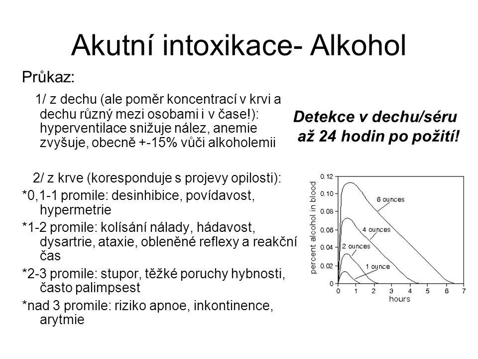 Akutní intoxikace- Alkohol Průkaz: 1/ z dechu (ale poměr koncentrací v krvi a dechu různý mezi osobami i v čase!): hyperventilace snižuje nález, anemie zvyšuje, obecně +-15% vůči alkoholemii 2/ z krve (koresponduje s projevy opilosti): *0,1-1 promile: desinhibice, povídavost, hypermetrie *1-2 promile: kolísání nálady, hádavost, dysartrie, ataxie, obleněné reflexy a reakční čas *2-3 promile: stupor, těžké poruchy hybnosti, často palimpsest *nad 3 promile: riziko apnoe, inkontinence, arytmie Detekce v dechu/séru až 24 hodin po požití!