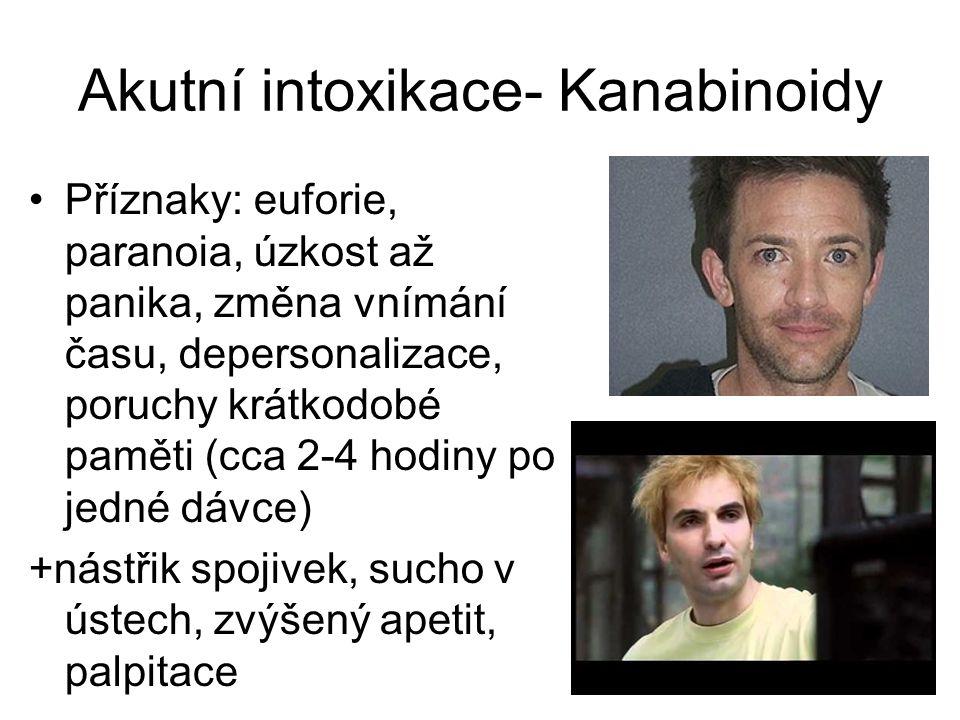 Akutní intoxikace- Kanabinoidy Příznaky: euforie, paranoia, úzkost až panika, změna vnímání času, depersonalizace, poruchy krátkodobé paměti (cca 2-4 hodiny po jedné dávce) +nástřik spojivek, sucho v ústech, zvýšený apetit, palpitace