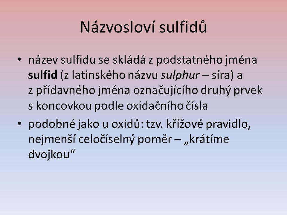 Názvosloví sulfidů název sulfidu se skládá z podstatného jména sulfid (z latinského názvu sulphur – síra) a z přídavného jména označujícího druhý prve
