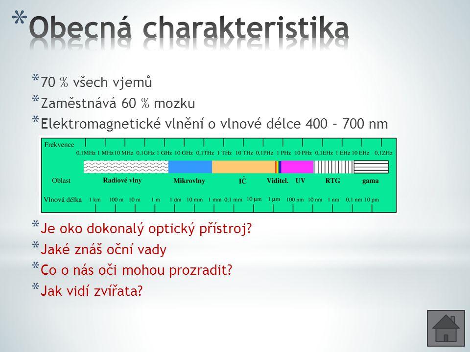 * 70 % všech vjemů * Zaměstnává 60 % mozku * Elektromagnetické vlnění o vlnové délce 400 – 700 nm * Je oko dokonalý optický přístroj? * Jaké znáš oční
