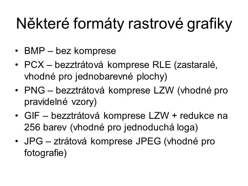 Některé formáty rastrové grafiky BMP – bez komprese PCX – bezztrátová komprese RLE (zastaralé, vhodné pro jednobarevné plochy) PNG – bezztrátová kompr