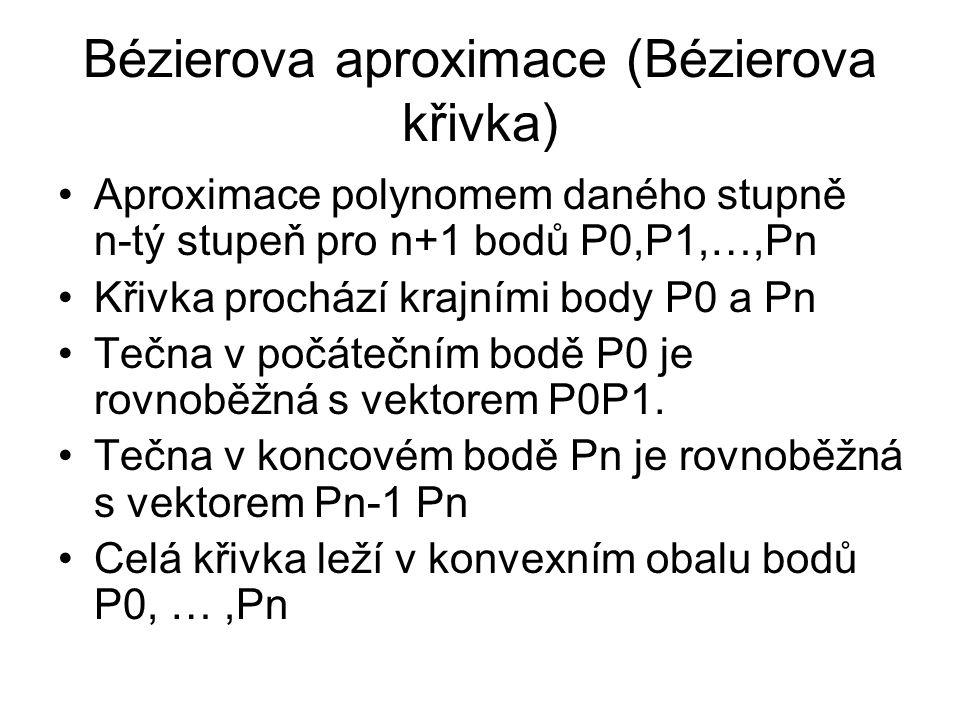 Bézierova aproximace (Bézierova křivka) Aproximace polynomem daného stupně n-tý stupeň pro n+1 bodů P0,P1,…,Pn Křivka prochází krajními body P0 a Pn T