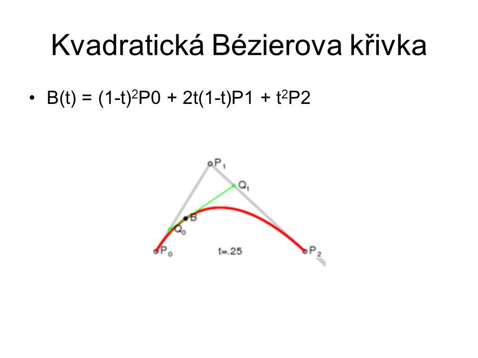 Kvadratická Bézierova křivka B(t) = (1-t) 2 P0 + 2t(1-t)P1 + t 2 P2