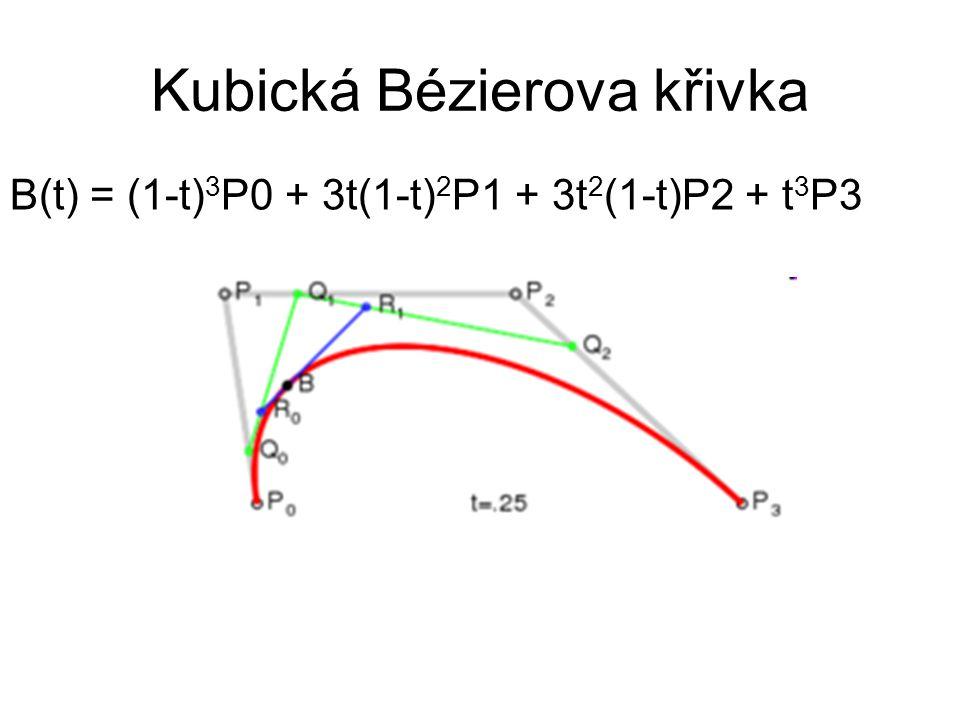 Kubická Bézierova křivka B(t) = (1-t) 3 P0 + 3t(1-t) 2 P1 + 3t 2 (1-t)P2 + t 3 P3
