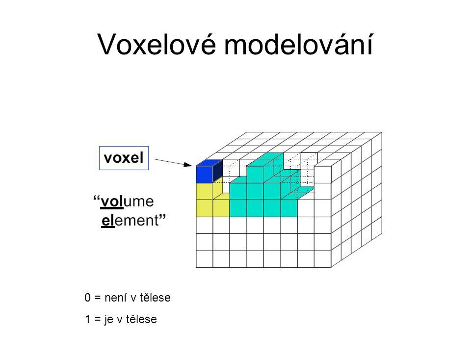 Voxelové modelování 0 = není v tělese 1 = je v tělese