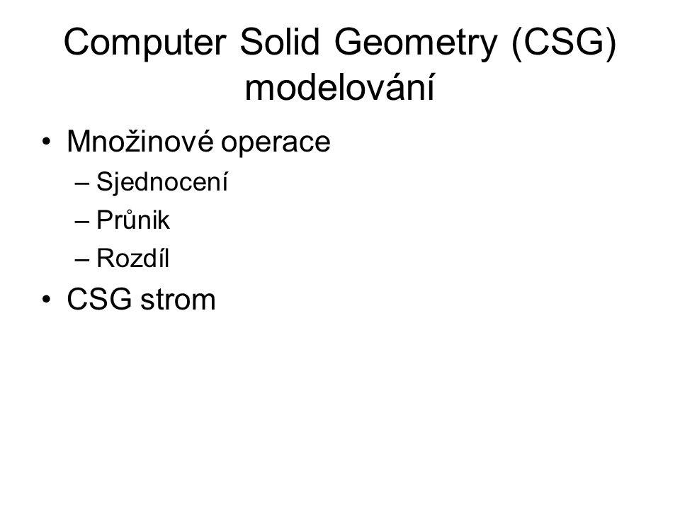 Computer Solid Geometry (CSG) modelování Množinové operace –Sjednocení –Průnik –Rozdíl CSG strom
