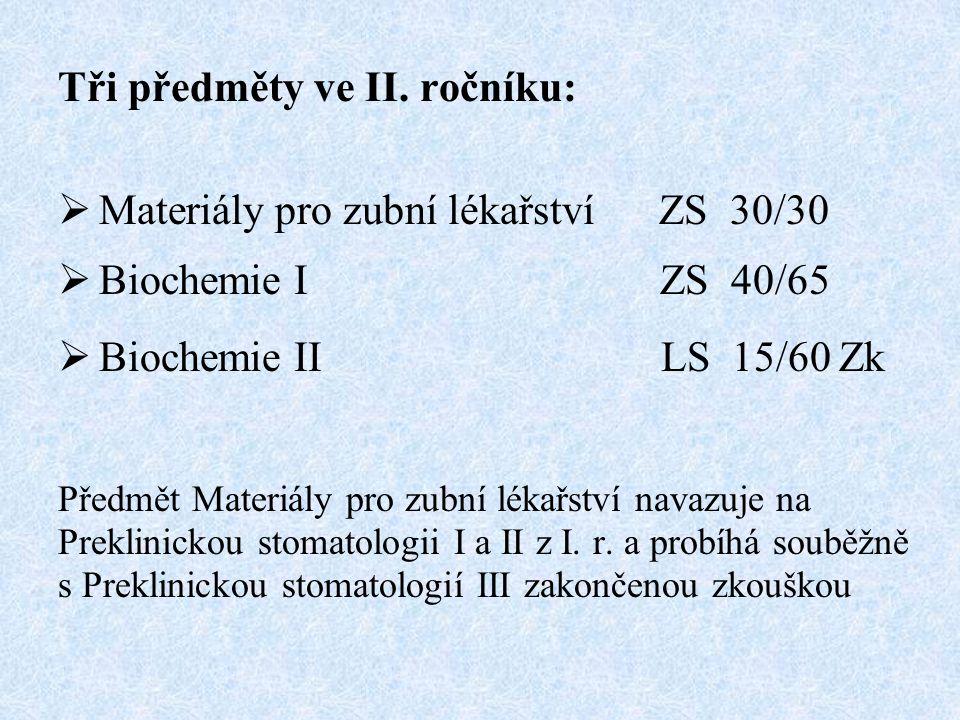 Tři předměty ve II. ročníku:  Materiály pro zubní lékařství ZS 30/30  Biochemie I ZS 40/65  Biochemie II LS 15/60 Zk Předmět Materiály pro zubní lé