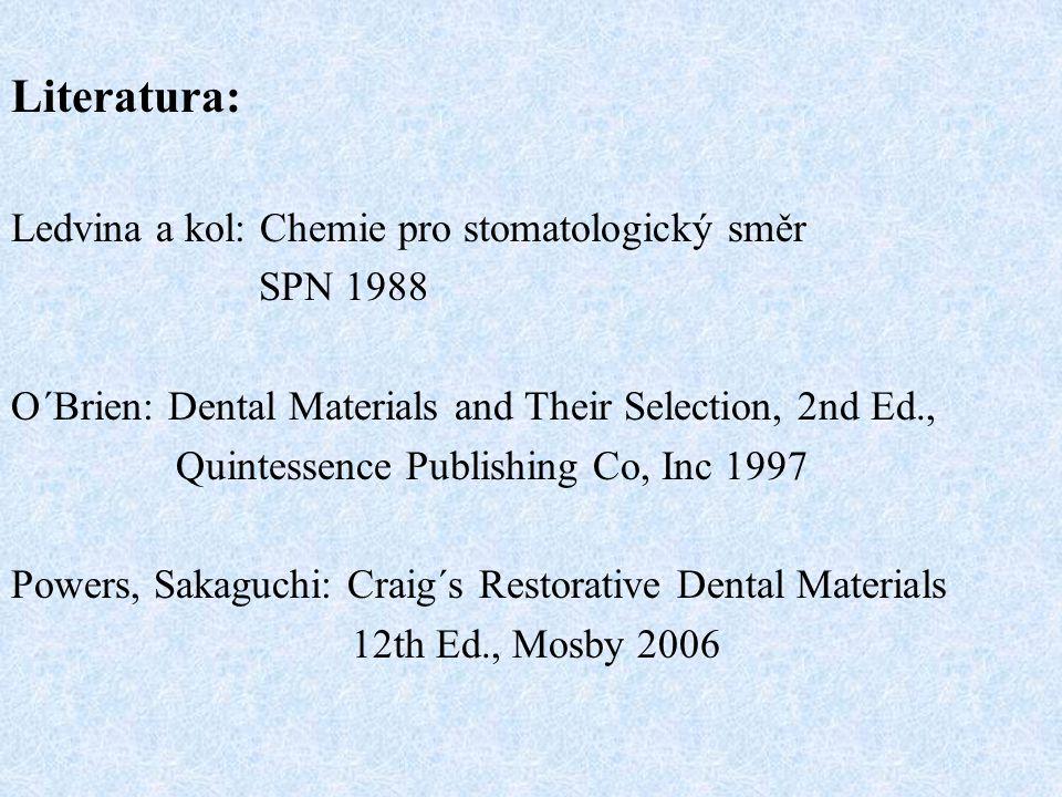 Literatura: Ledvina a kol: Chemie pro stomatologický směr SPN 1988 O´Brien: Dental Materials and Their Selection, 2nd Ed., Quintessence Publishing Co, Inc 1997 Powers, Sakaguchi: Craig´s Restorative Dental Materials 12th Ed., Mosby 2006