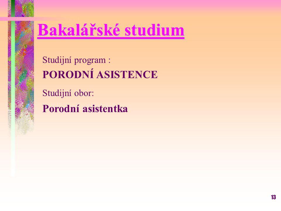 13 Bakalářské studium Studijní program : PORODNÍ ASISTENCE Studijní obor: Porodní asistentka