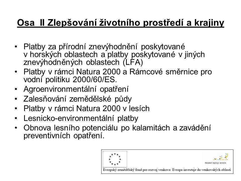 Osa II Zlepšování životního prostředí a krajiny Platby za přírodní znevýhodnění poskytované v horských oblastech a platby poskytované v jiných znevýhodněných oblastech (LFA) Platby v rámci Natura 2000 a Rámcové směrnice pro vodní politiku 2000/60/ES.