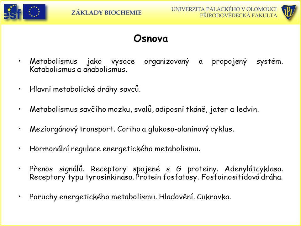 Osnova Metabolismus jako vysoce organizovaný a propojený systém. Katabolismus a anabolismus. Hlavní metabolické dráhy savců. Metabolismus savčího mozk