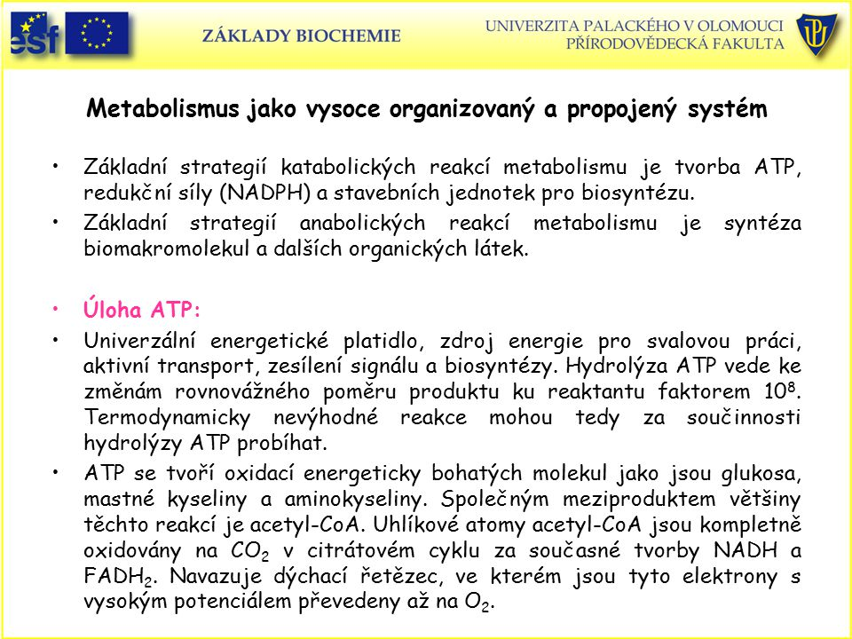 Metabolismus jako vysoce organizovaný a propojený systém Základní strategií katabolických reakcí metabolismu je tvorba ATP, redukční síly (NADPH) a stavebních jednotek pro biosyntézu.