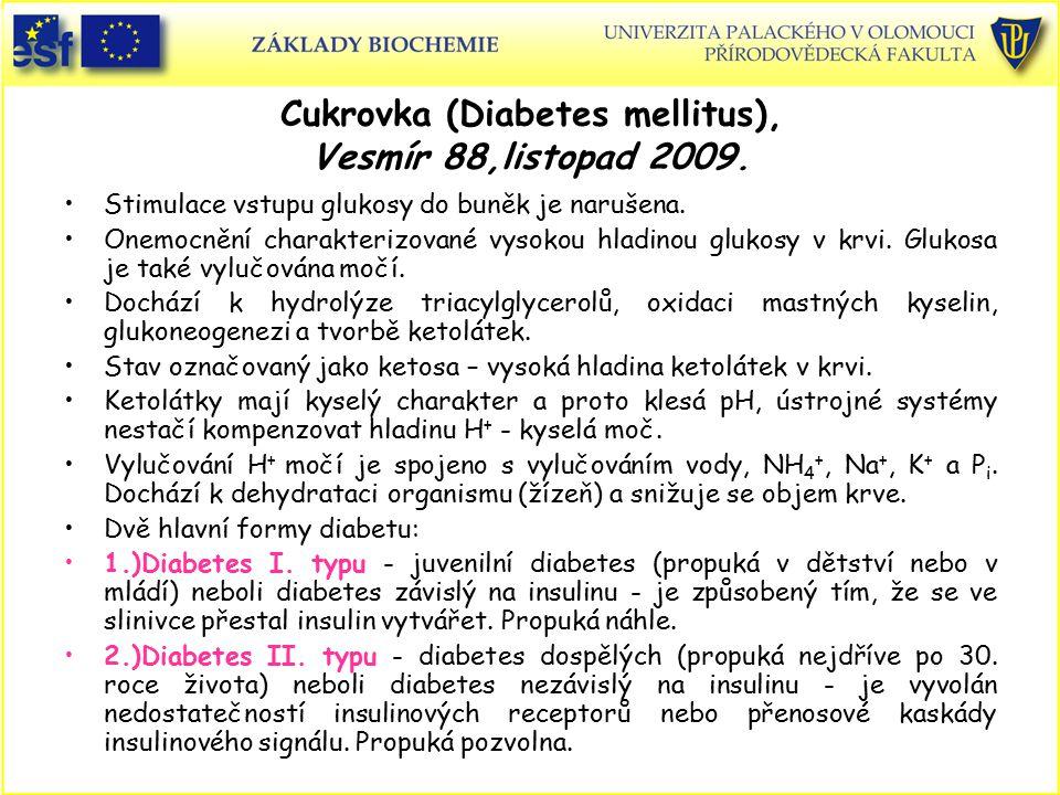 Cukrovka (Diabetes mellitus), Vesmír 88,listopad 2009. Stimulace vstupu glukosy do buněk je narušena. Onemocnění charakterizované vysokou hladinou glu