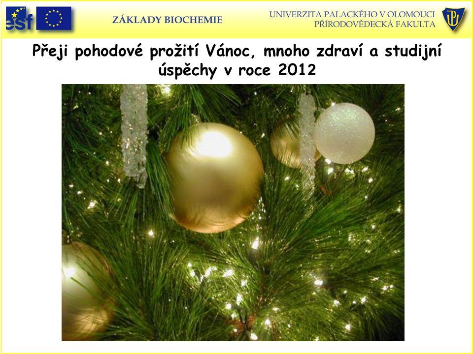 Přeji pohodové prožití Vánoc, mnoho zdraví a studijní úspěchy v roce 201 2