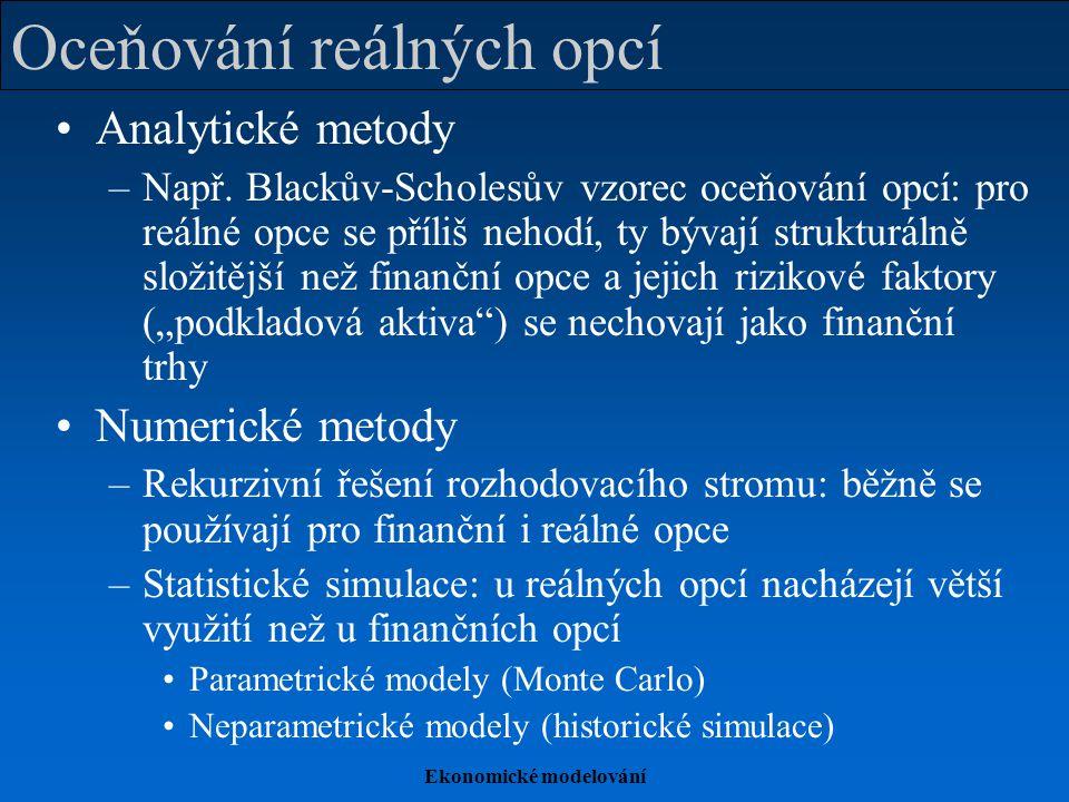 Ekonomické modelování Oceňování reálných opcí Analytické metody –Např.
