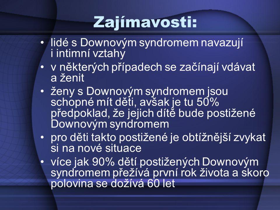 Zajímavosti: lidé s Downovým syndromem navazují i intimní vztahy v některých případech se začínají vdávat a ženit ženy s Downovým syndromem jsou schop