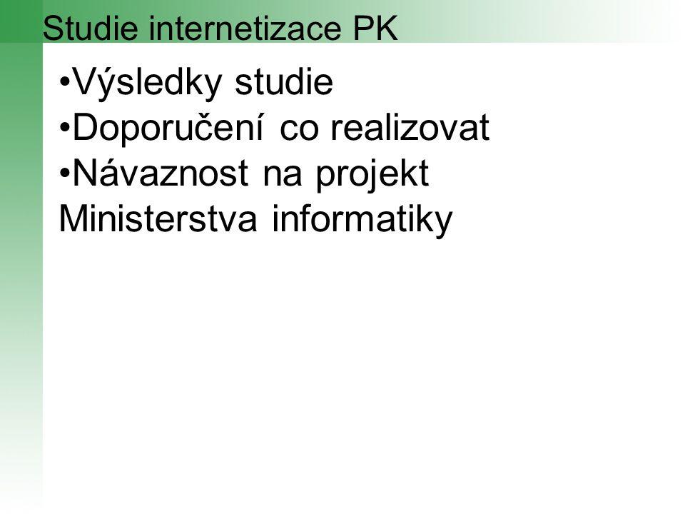 Výsledky studie Doporučení co realizovat Návaznost na projekt Ministerstva informatiky Studie internetizace PK