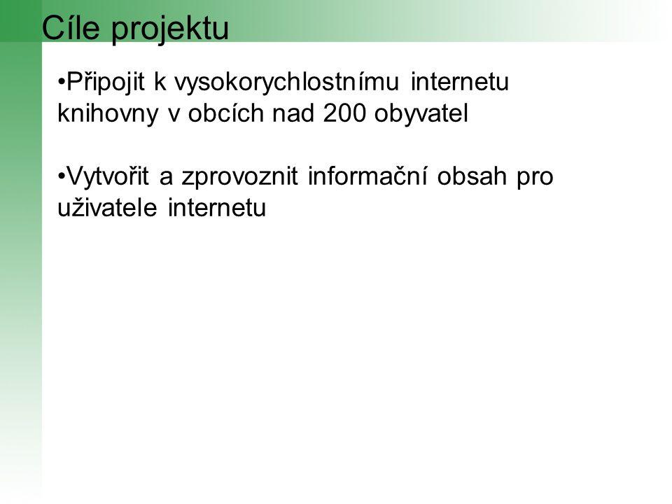 Cíle projektu Připojit k vysokorychlostnímu internetu knihovny v obcích nad 200 obyvatel Vytvořit a zprovoznit informační obsah pro uživatele internetu
