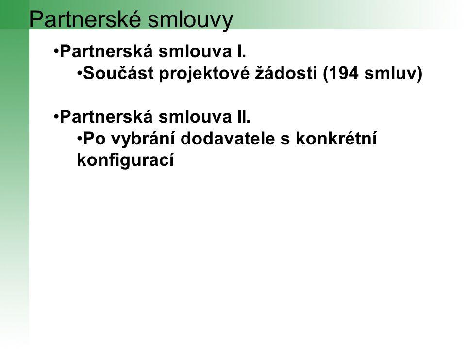 Partnerské smlouvy Partnerská smlouva I. Součást projektové žádosti (194 smluv) Partnerská smlouva II. Po vybrání dodavatele s konkrétní konfigurací
