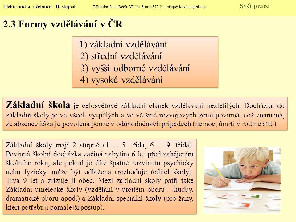 2.3 Formy vzdělávání v ČR Elektronická učebnice - II. stupeň Základní škola Děčín VI, Na Stráni 879/2 – příspěvková organizace Svět práce 1) základní