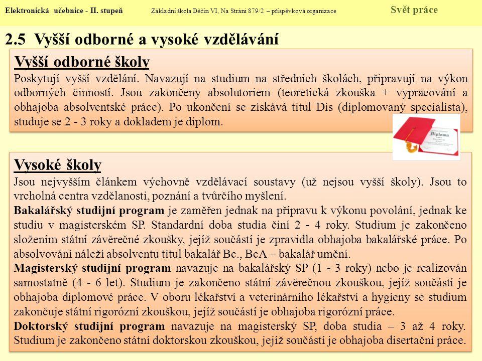 2.5 Vyšší odborné a vysoké vzdělávání Elektronická učebnice - II. stupeň Základní škola Děčín VI, Na Stráni 879/2 – příspěvková organizace Svět práce