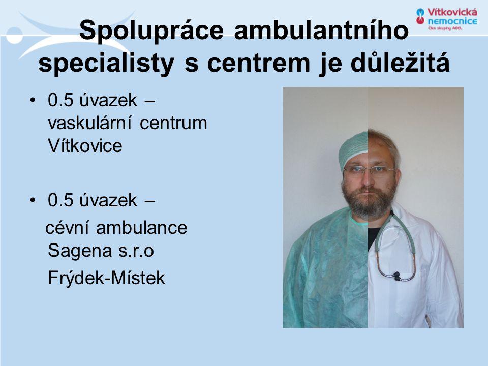 Spolupráce ambulantního specialisty s centrem je důležitá 0.5 úvazek – vaskulární centrum Vítkovice 0.5 úvazek – cévní ambulance Sagena s.r.o Frýdek-Místek