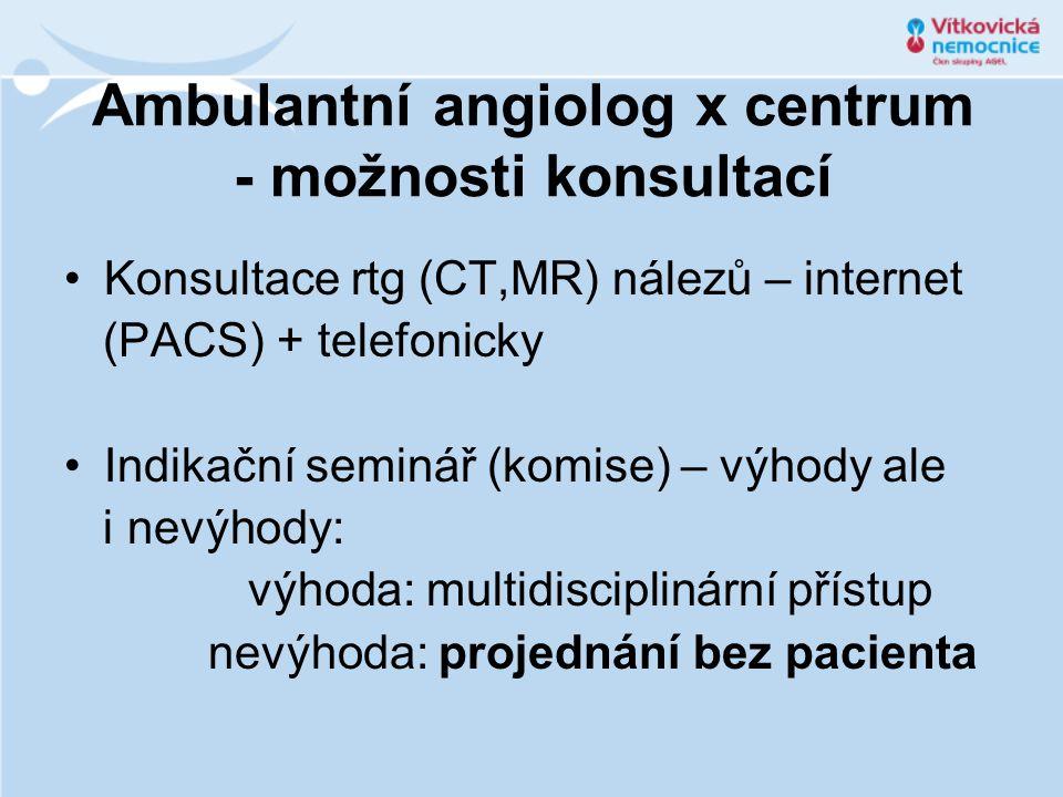 Ambulantní angiolog x centrum - možnosti konsultací Konsultace rtg (CT,MR) nálezů – internet (PACS) + telefonicky Indikační seminář (komise) – výhody ale i nevýhody: výhoda: multidisciplinární přístup nevýhoda: projednání bez pacienta