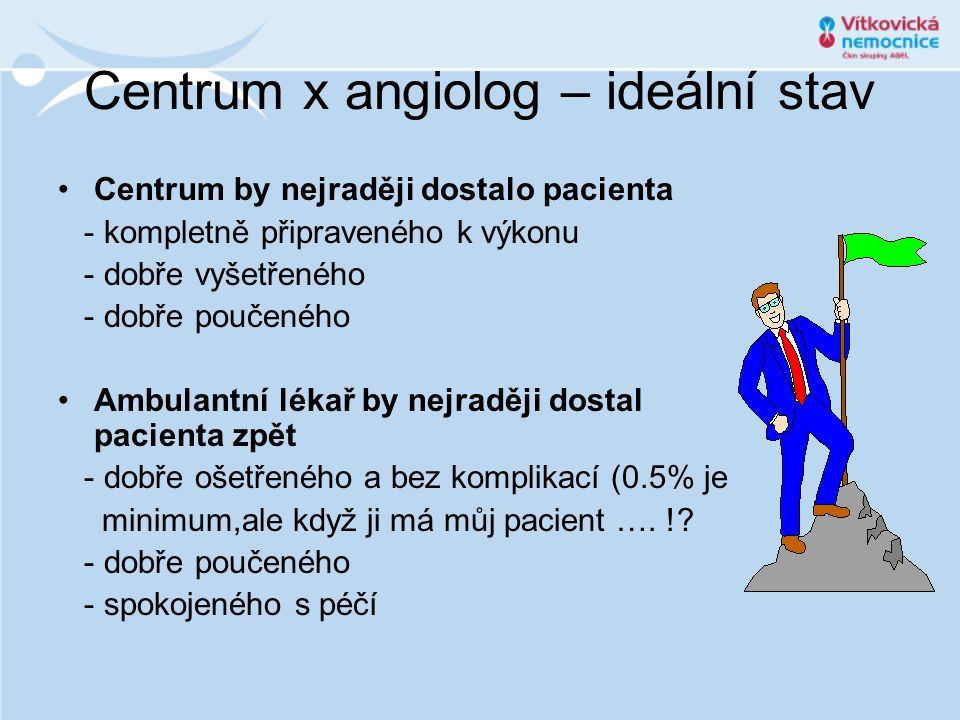 Centrum x angiolog – ideální stav Centrum by nejraději dostalo pacienta - kompletně připraveného k výkonu - dobře vyšetřeného - dobře poučeného Ambulantní lékař by nejraději dostal pacienta zpět - dobře ošetřeného a bez komplikací (0.5% je minimum,ale když ji má můj pacient ….