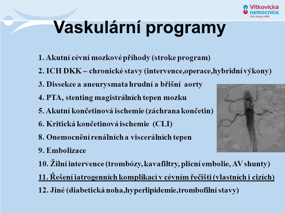 1. Akutní cévní mozkové příhody (stroke program) 2. ICH DKK – chronické stavy (intervence,operace,hybridní výkony) 3. Dissekce a aneurysmata hrudní a