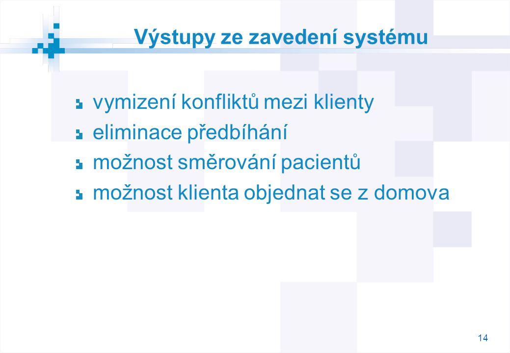 14 Výstupy ze zavedení systému vymizení konfliktů mezi klienty eliminace předbíhání možnost směrování pacientů možnost klienta objednat se z domova