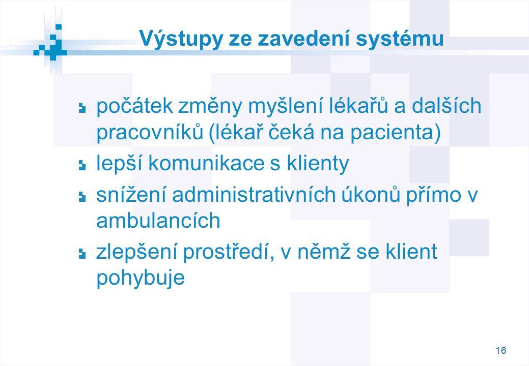16 Výstupy ze zavedení systému počátek změny myšlení lékařů a dalších pracovníků (lékař čeká na pacienta) lepší komunikace s klienty snížení administrativních úkonů přímo v ambulancích zlepšení prostředí, v němž se klient pohybuje