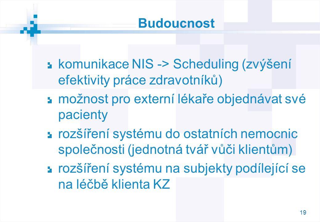19 Budoucnost komunikace NIS -> Scheduling (zvýšení efektivity práce zdravotníků) možnost pro externí lékaře objednávat své pacienty rozšíření systému do ostatních nemocnic společnosti (jednotná tvář vůči klientům) rozšíření systému na subjekty podílející se na léčbě klienta KZ