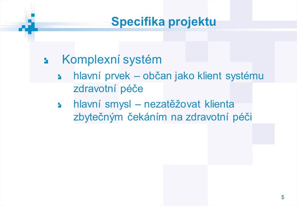 6 Specifika projektu Obrovská variabilita systému fronty na pořadí / na čas anonymizovaní / neanonymizovaní klienti fronty na ambulanci / konkrétního lékaře možnost volby lékaře