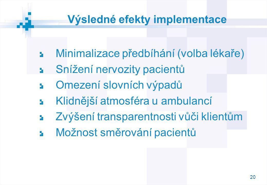 20 Výsledné efekty implementace Minimalizace předbíhání (volba lékaře) Snížení nervozity pacientů Omezení slovních výpadů Klidnější atmosféra u ambulancí Zvýšení transparentnosti vůči klientům Možnost směrování pacientů