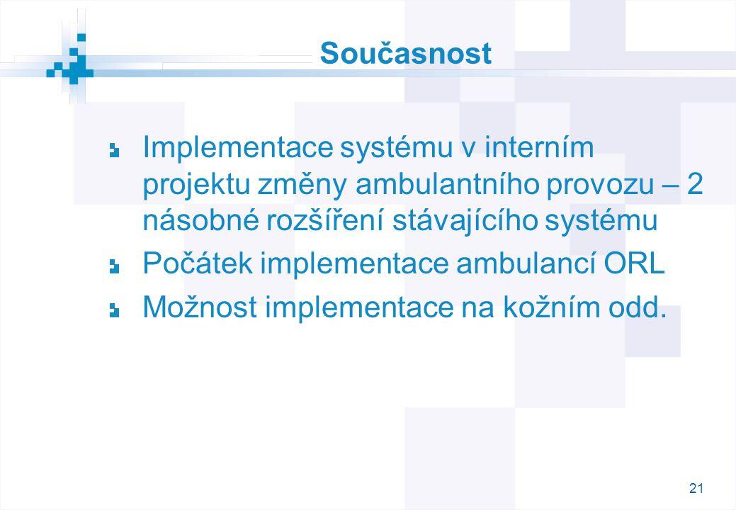 21 Současnost Implementace systému v interním projektu změny ambulantního provozu – 2 násobné rozšíření stávajícího systému Počátek implementace ambulancí ORL Možnost implementace na kožním odd.