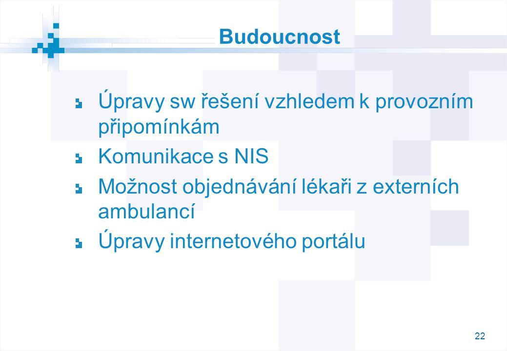 22 Budoucnost Úpravy sw řešení vzhledem k provozním připomínkám Komunikace s NIS Možnost objednávání lékaři z externích ambulancí Úpravy internetového portálu