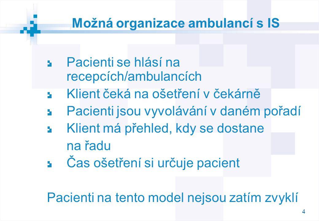 4 Možná organizace ambulancí s IS Pacienti se hlásí na recepcích/ambulancích Klient čeká na ošetření v čekárně Pacienti jsou vyvolávání v daném pořadí