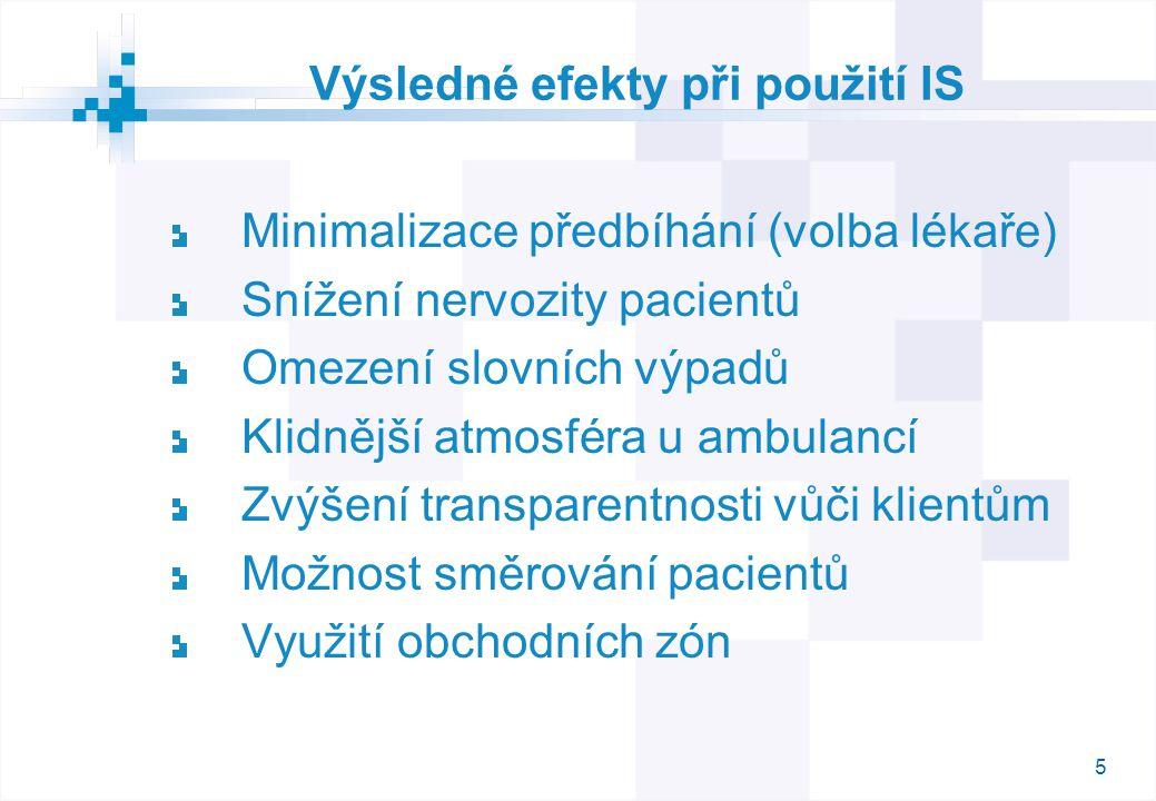 5 Výsledné efekty při použití IS Minimalizace předbíhání (volba lékaře) Snížení nervozity pacientů Omezení slovních výpadů Klidnější atmosféra u ambul