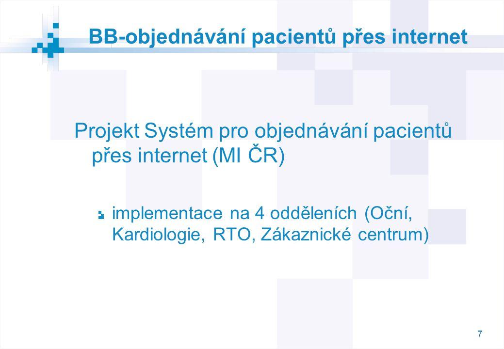 7 BB-objednávání pacientů přes internet Projekt Systém pro objednávání pacientů přes internet (MI ČR) implementace na 4 odděleních (Oční, Kardiologie,
