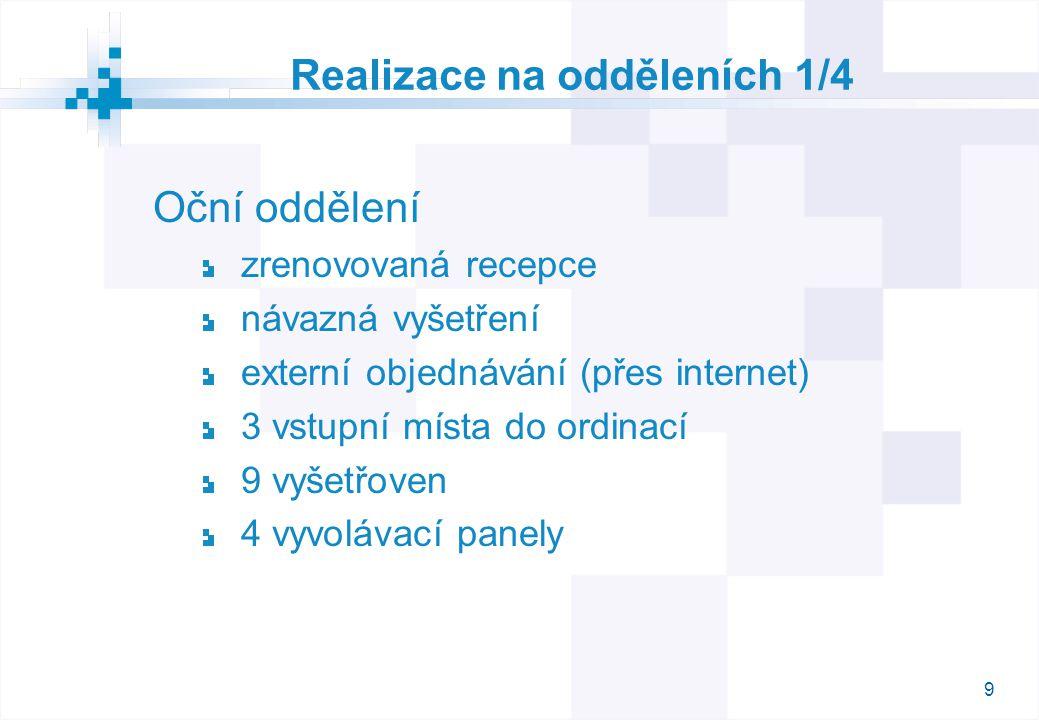 9 Realizace na odděleních 1/4 Oční oddělení zrenovovaná recepce návazná vyšetření externí objednávání (přes internet) 3 vstupní místa do ordinací 9 vyšetřoven 4 vyvolávací panely