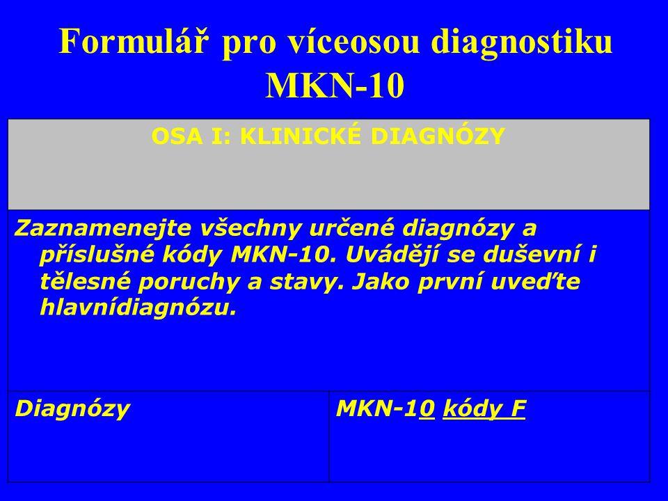 Formulář pro víceosou diagnostiku MKN-10 OSA I: KLINICKÉ DIAGNÓZY Zaznamenejte všechny určené diagnózy a příslušné kódy MKN-10. Uvádějí se duševní i t