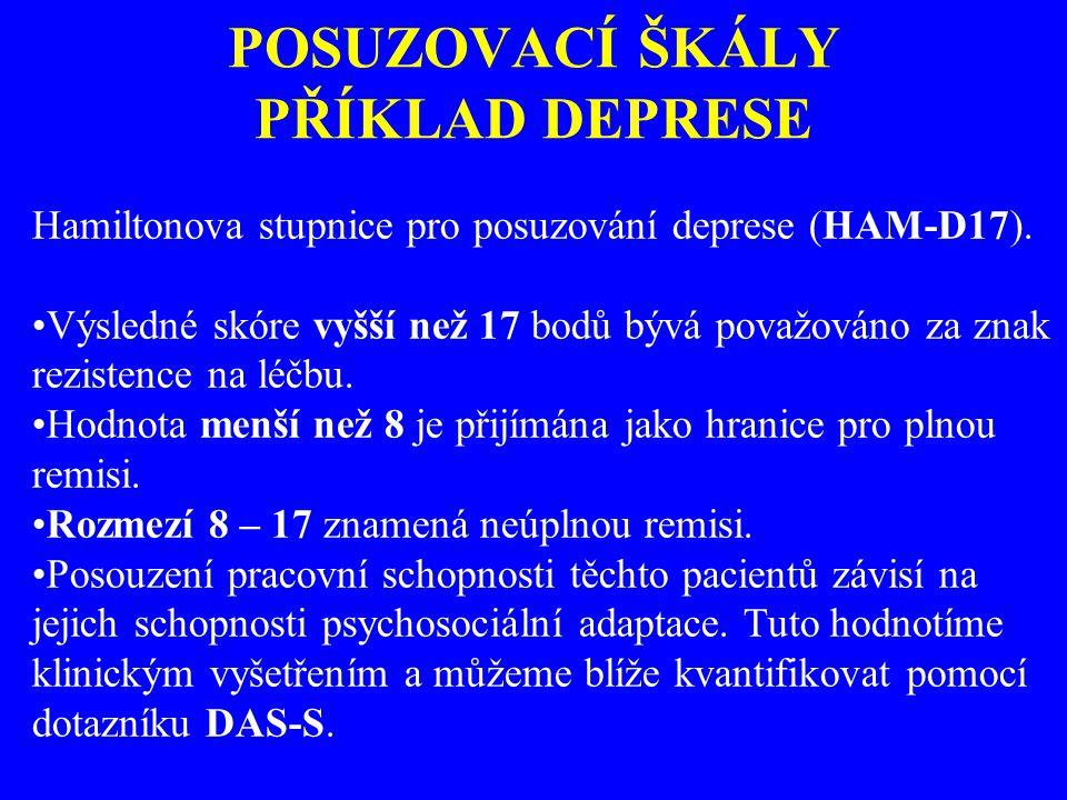 POSUZOVACÍ ŠKÁLY PŘÍKLAD DEPRESE Hamiltonova stupnice pro posuzování deprese (HAM-D17). Výsledné skóre vyšší než 17 bodů bývá považováno za znak rezis