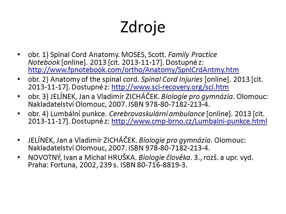 Zdroje obr. 1) Spinal Cord Anatomy. MOSES, Scott. Family Practice Notebook [online]. 2013 [cit. 2013-11-17]. Dostupné z: http://www.fpnotebook.com/ort