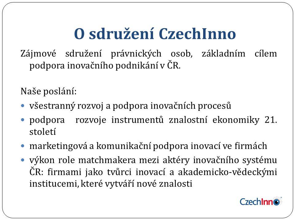 O sdružení CzechInno Zájmové sdružení právnických osob, základním cílem podpora inovačního podnikání v ČR.