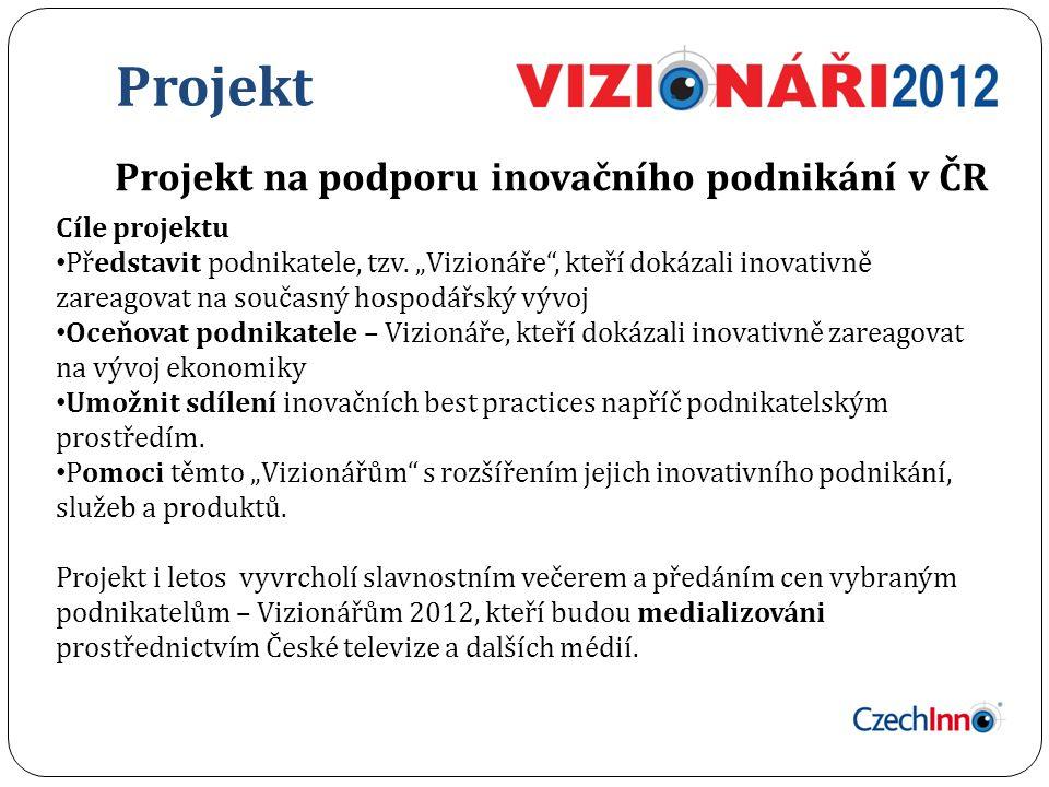 Projekt Projekt na podporu inovačního podnikání v ČR Cíle projektu Představit podnikatele, tzv.