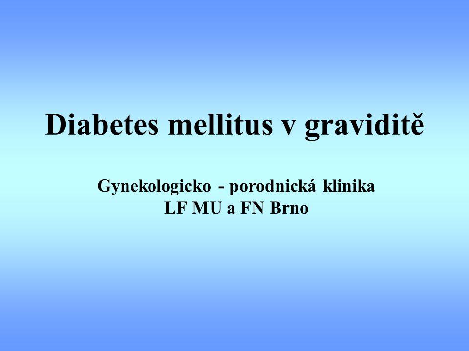 Gestační DM Péče v graviditě glykemický profil 1xtýdně, selfmonitoring glykosilovaný Hb ketolátky v moči glykosurie UZ biometrie á 2 - 3 týdny TK, mikroalbuminurie, váha, moč - K+C