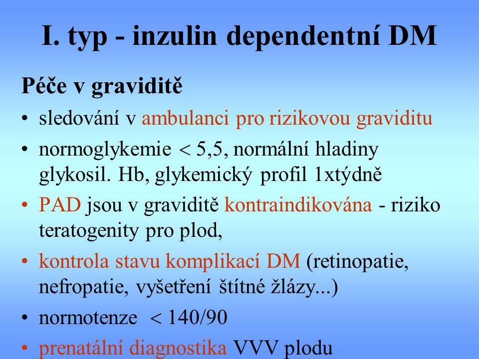 I. typ - inzulin dependentní DM Péče v graviditě sledování v ambulanci pro rizikovou graviditu normoglykemie  5,5, normální hladiny glykosil. Hb, gly